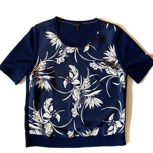 Escada Short-Sleeve Floral-Print Silk Front & Knit